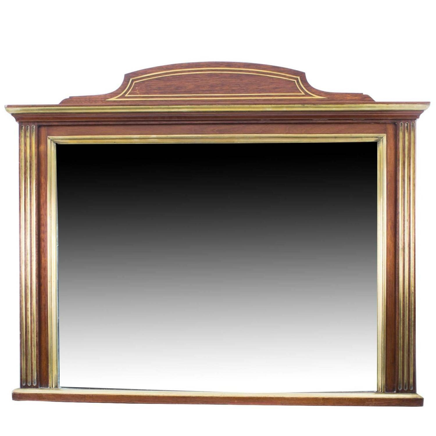 Antique Mahogany Brass Inlaid Over Mantle Mirror, Circa 1900 For for Over Mantle Mirrors (Image 1 of 15)