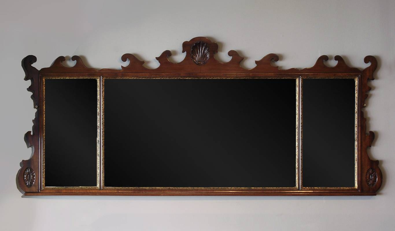 Antique Mahogany Overmantel Mirror, Fret Overmantel Mirror, Wooden for Wooden Overmantle Mirrors (Image 3 of 15)