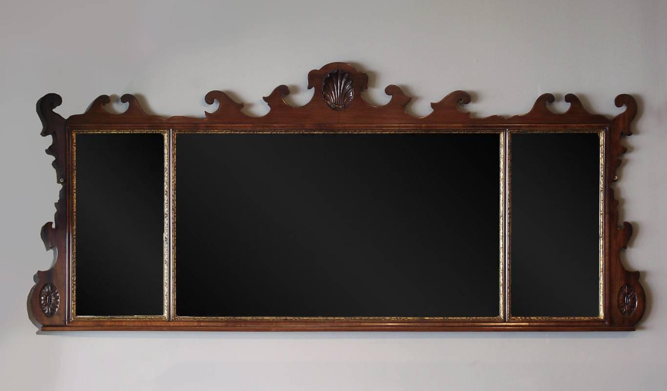 Antique Mahogany Overmantel Mirror, Fret Overmantel Mirror, Wooden within Antique Victorian Mirrors (Image 1 of 15)