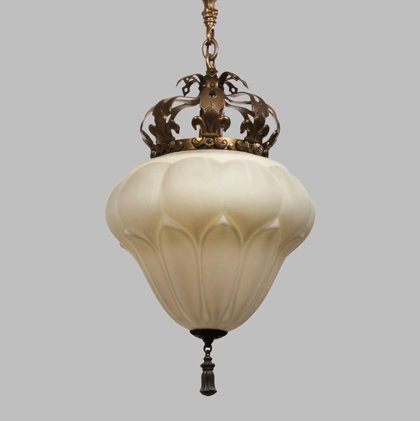 Antique Pendant Light With Fleur-De-Lis, Early 1900S intended for Fleur De Lis Lights Fixtures (Image 2 of 15)
