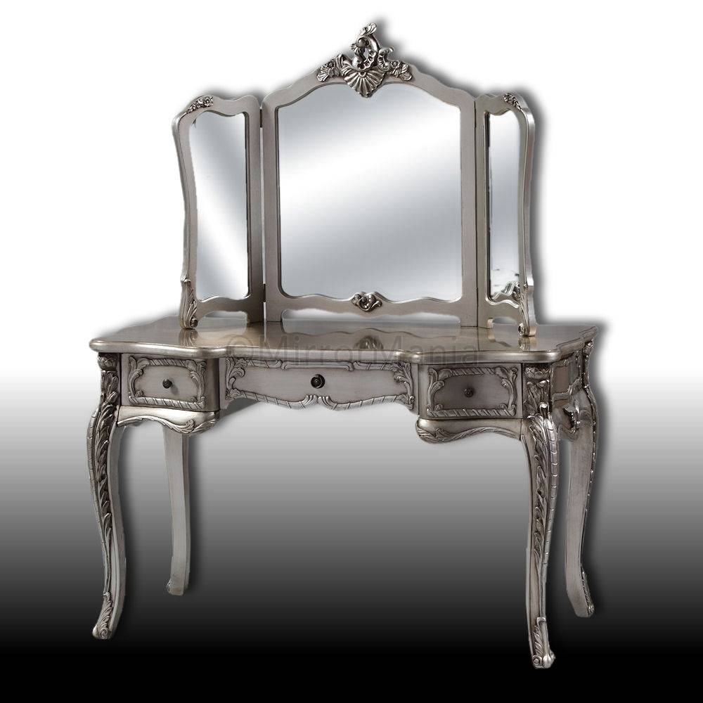 Antique Silver Dressing Table And 3 Fold Mirror Set Table Within Silver Dressing Table Mirrors (View 3 of 15)