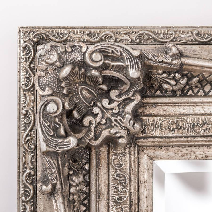 Antique Silver Ornate Rococo Mirrorhand Crafted Mirrors Regarding Pewter Ornate Mirrors (View 3 of 15)