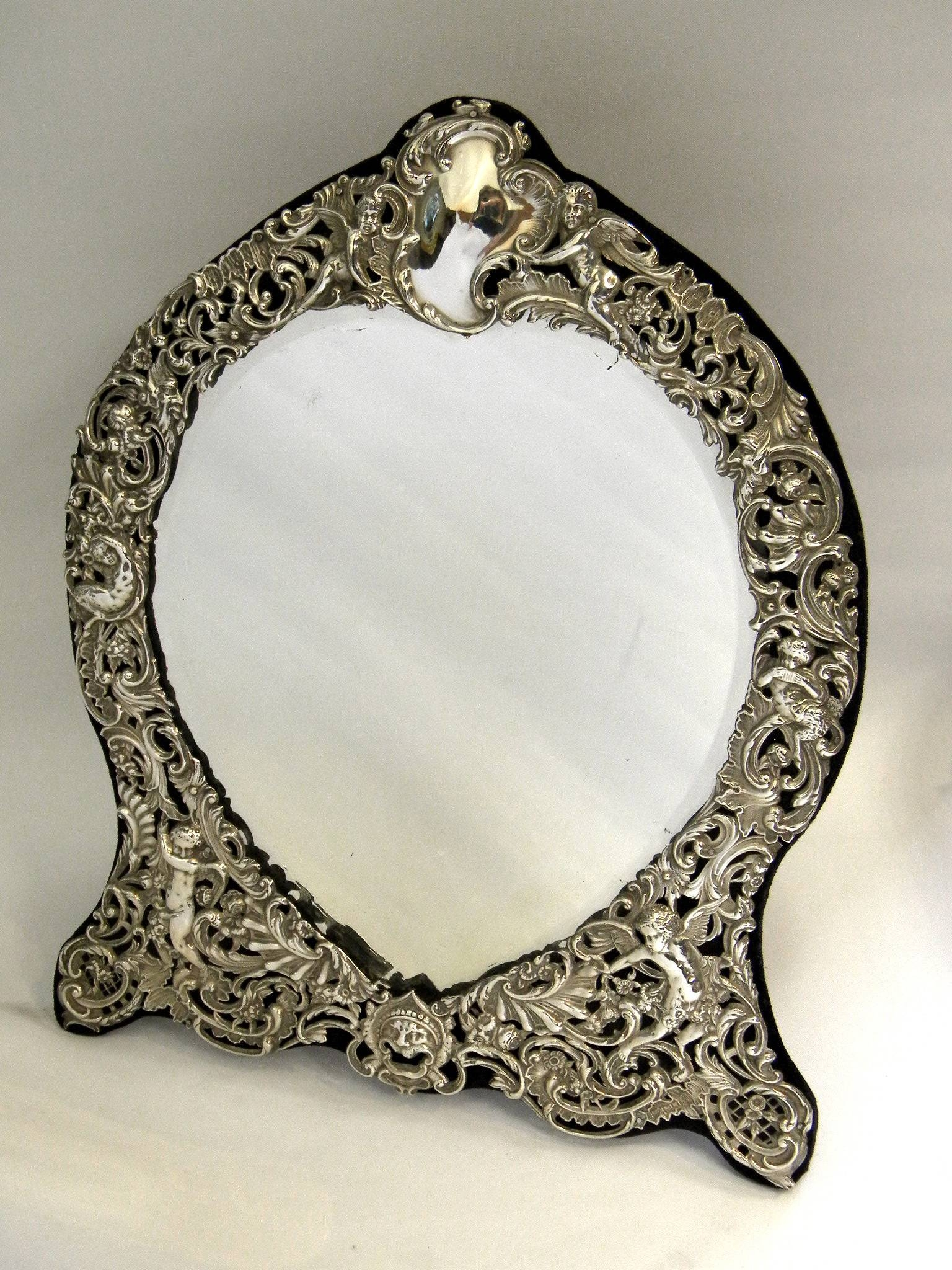 Antique Solid Silver Victorian Style Dressing Table Mirror London Pertaining To Silver Dressing Table Mirrors (View 4 of 15)