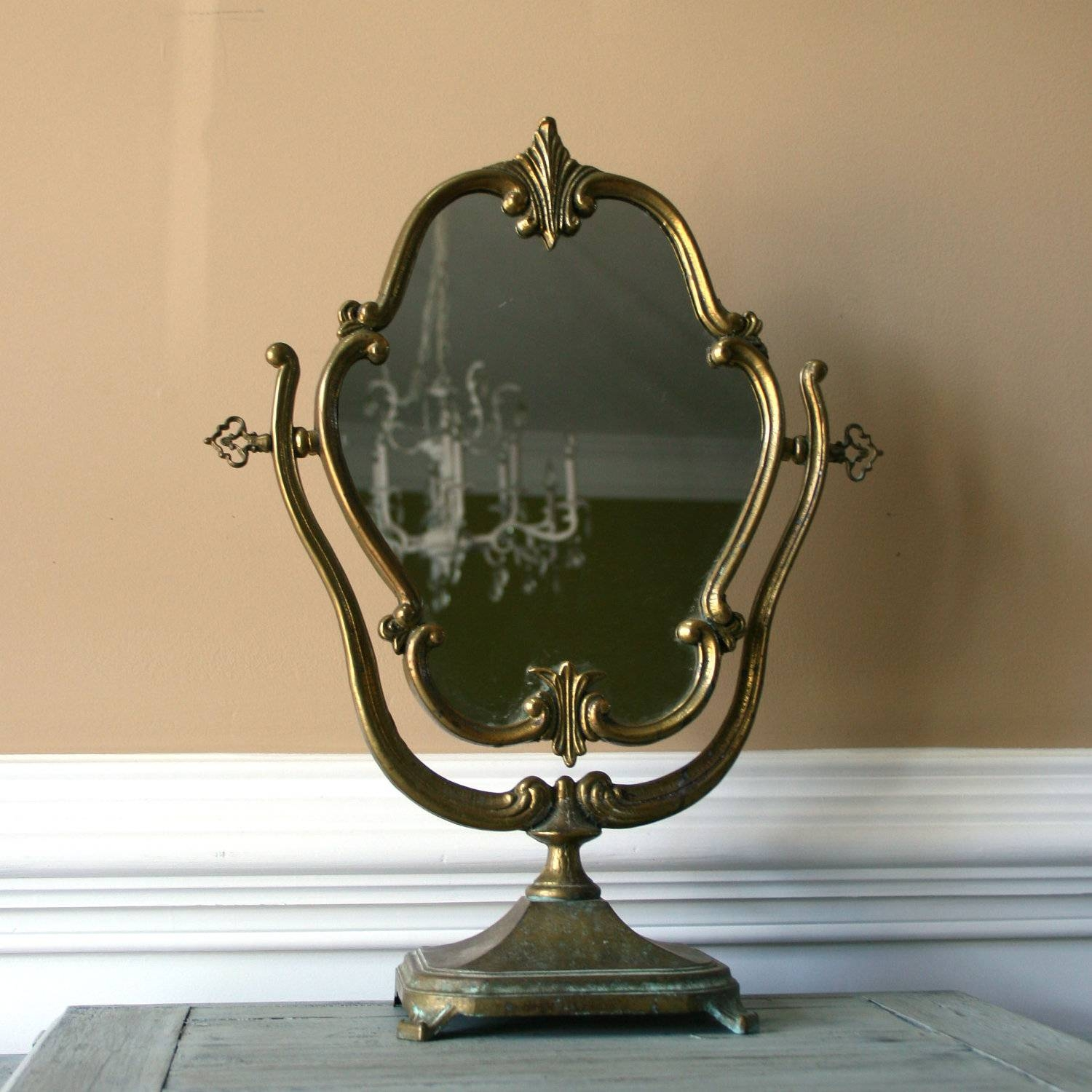 Antique Vanity Mirror Brushed Bronze With Stand As Decorate Make intended for Vintage Stand Up Mirrors (Image 3 of 15)