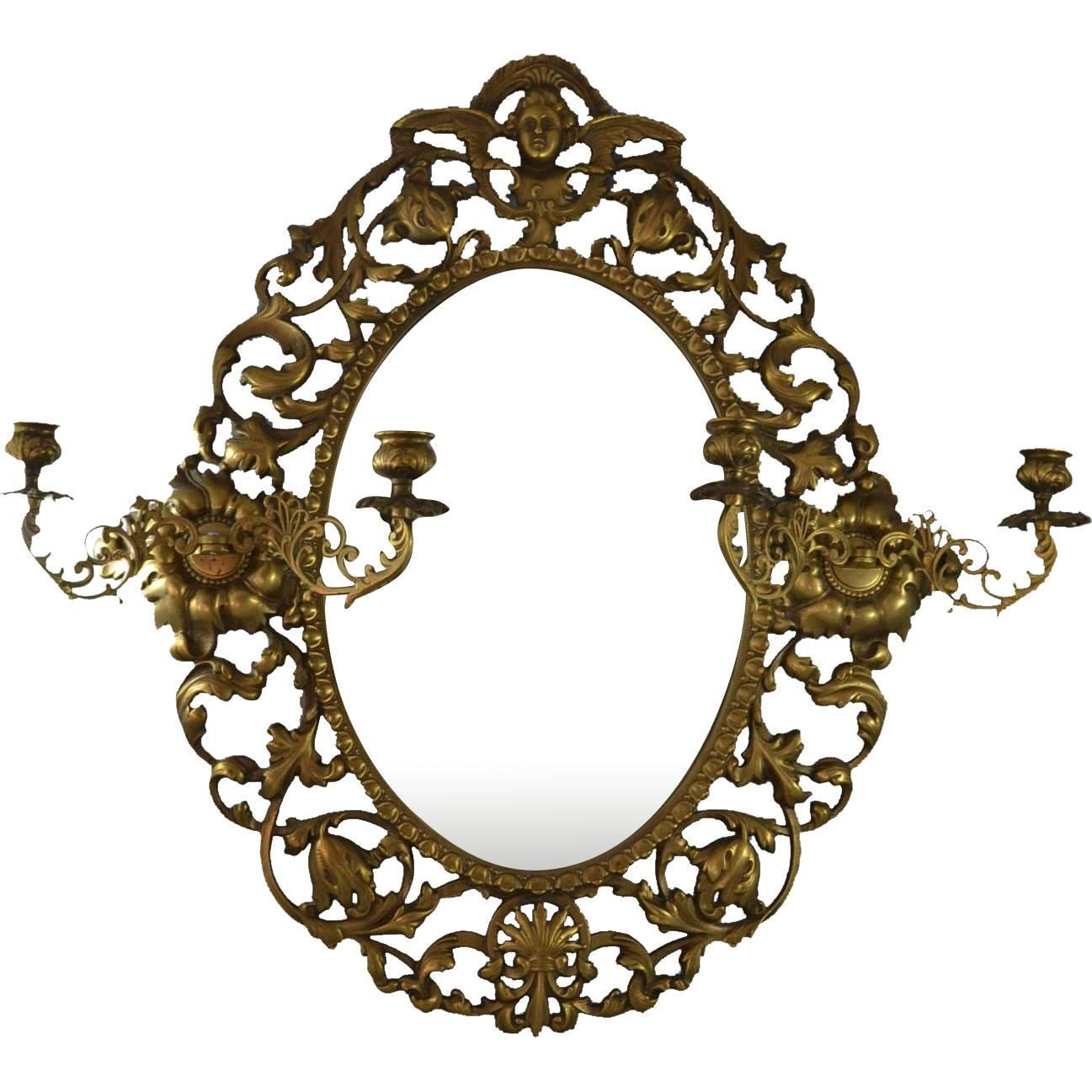 Antique Victorian Brass Cast Wall Mirror With Cherub Angel And 2 with Antique Victorian Mirrors (Image 2 of 15)