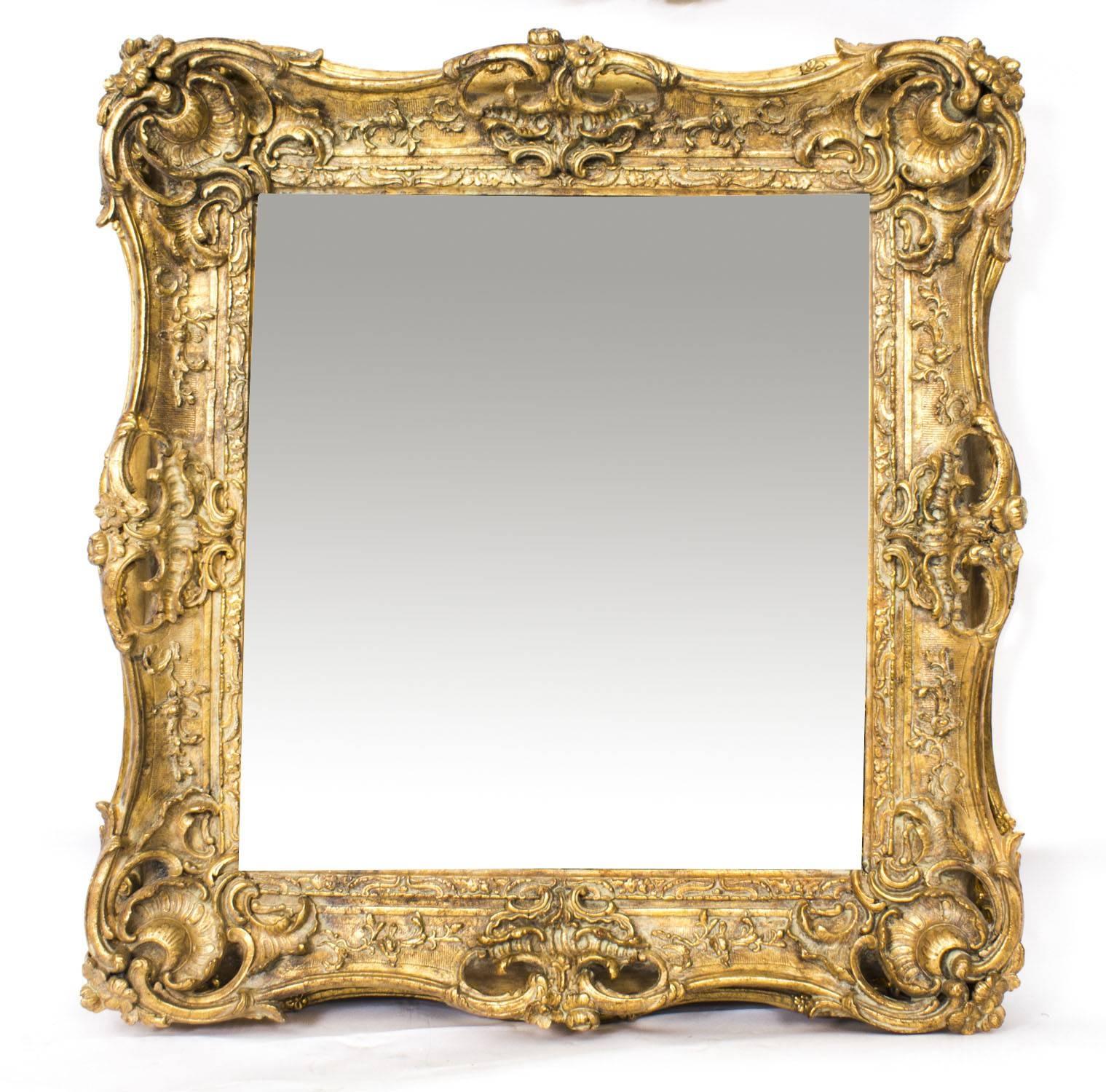 Antique Victorian Giltwood Mirror C.1870 100X90Cm | Vinterior throughout Antique Victorian Mirrors (Image 6 of 15)