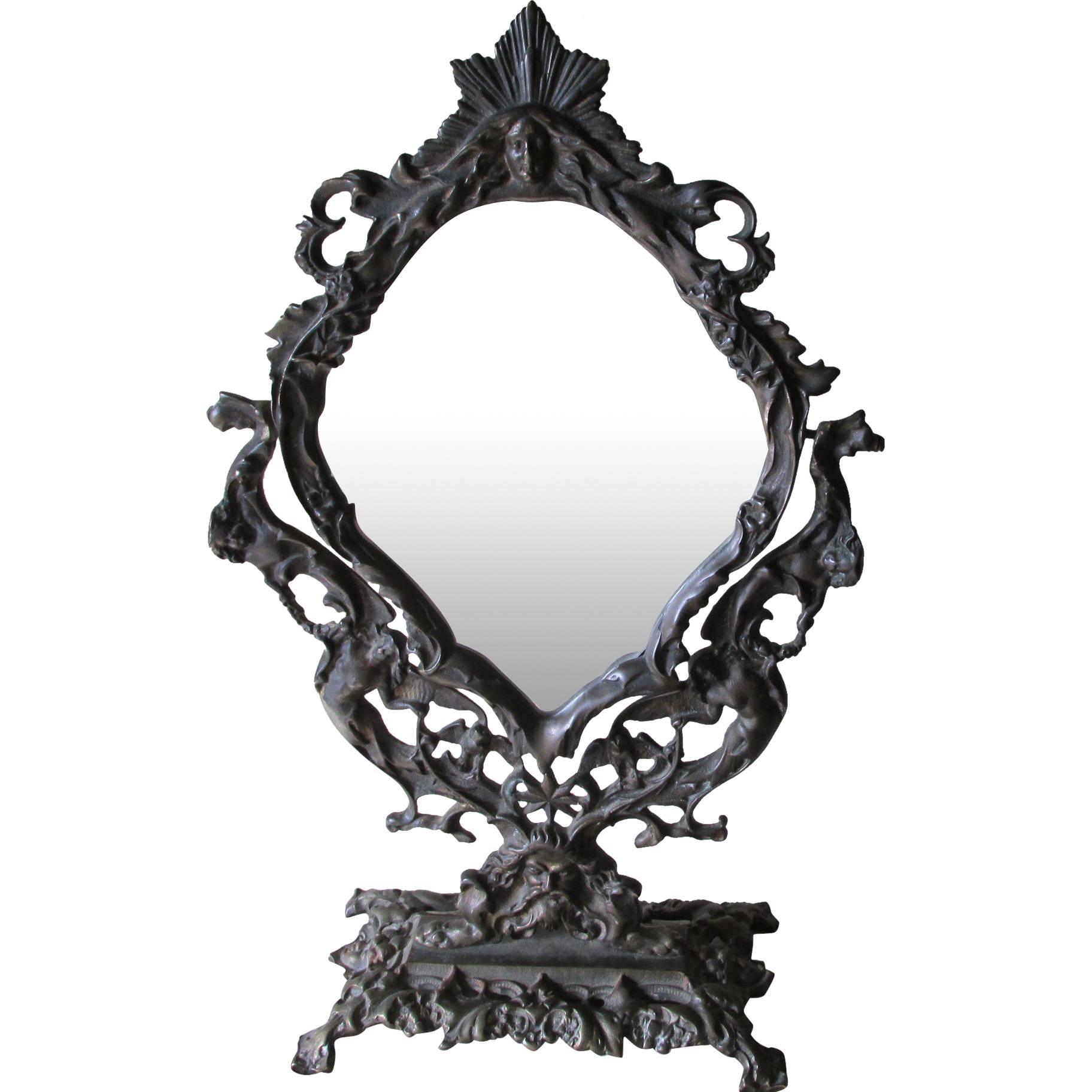 Antique Victorian Gothic Mirror With Angels, Owls, Cherubs pertaining to Black Victorian Style Mirrors (Image 1 of 15)