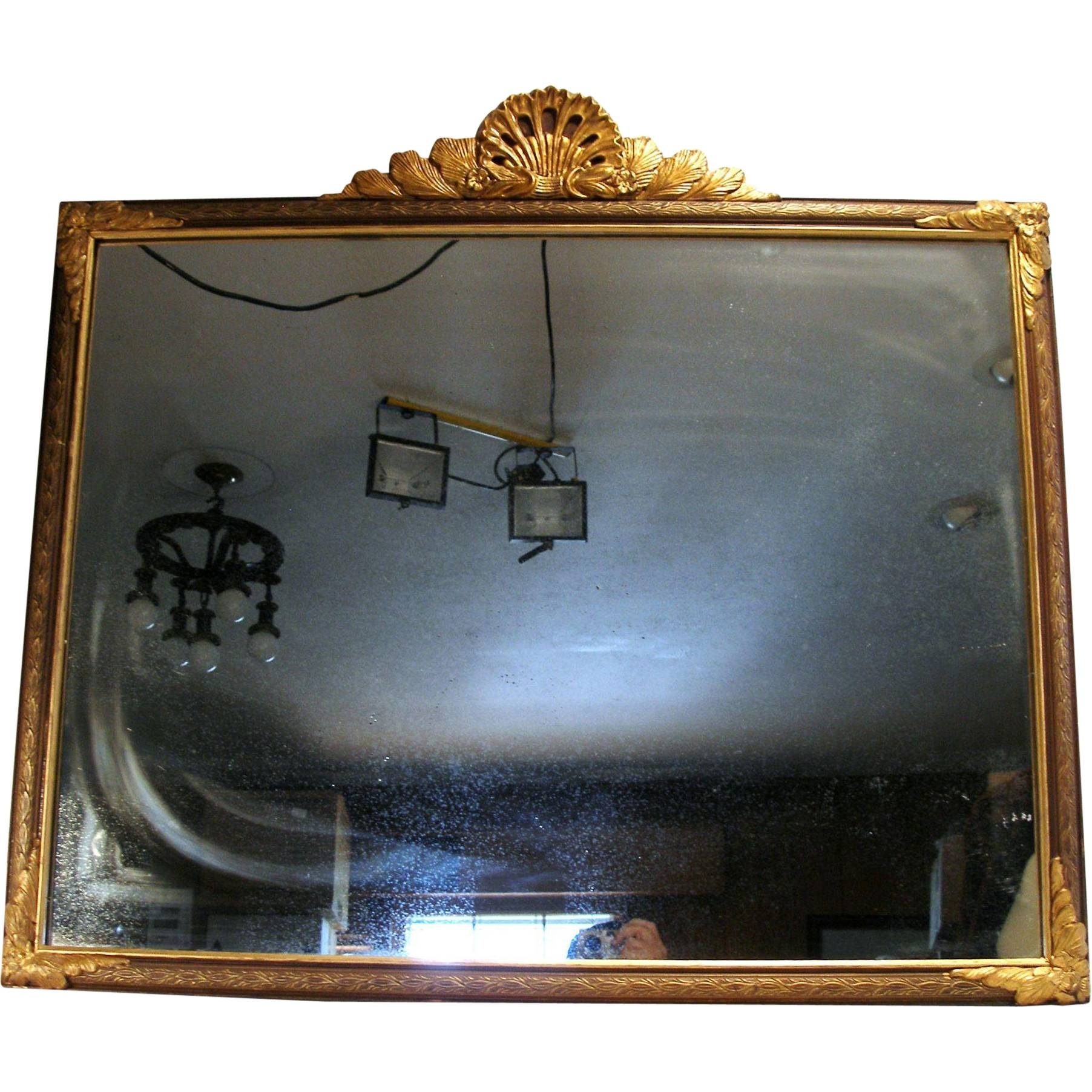 Antique Victorian Style N.y. Shell Crest Gold Gilt Wood Frame Wall with Gold Mantle Mirrors (Image 3 of 15)
