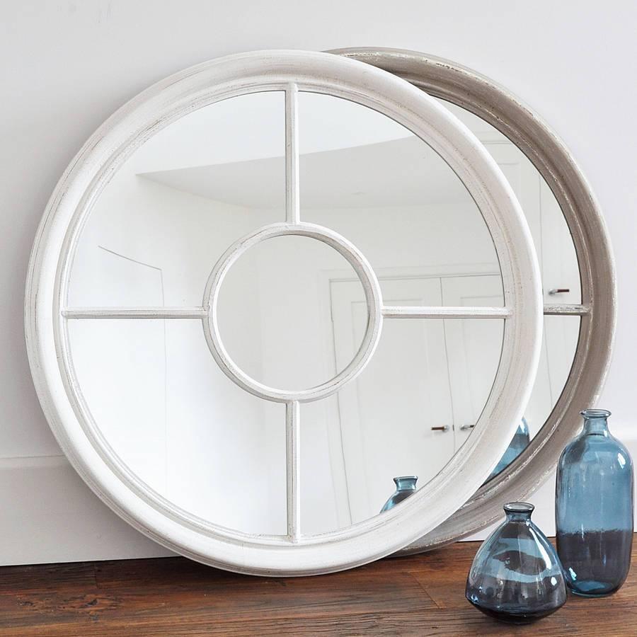 Antique White And Grey Round Window Mirrorprimrose & Plum in White Round Mirrors (Image 1 of 15)