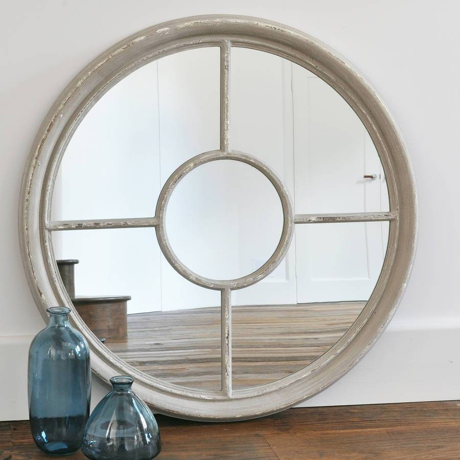 Antique White And Grey Round Window Mirrorprimrose & Plum inside White Round Mirrors (Image 2 of 15)