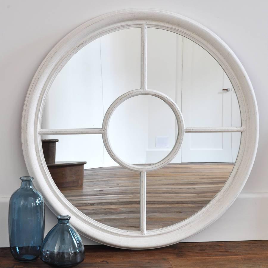 Antique White And Grey Round Window Mirrorprimrose & Plum with White Round Mirrors (Image 3 of 15)
