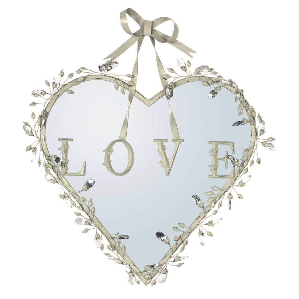Antique White Heart Mirror With Crystals And Bow - Decorative Wall pertaining to Mirrors With Crystals (Image 2 of 15)