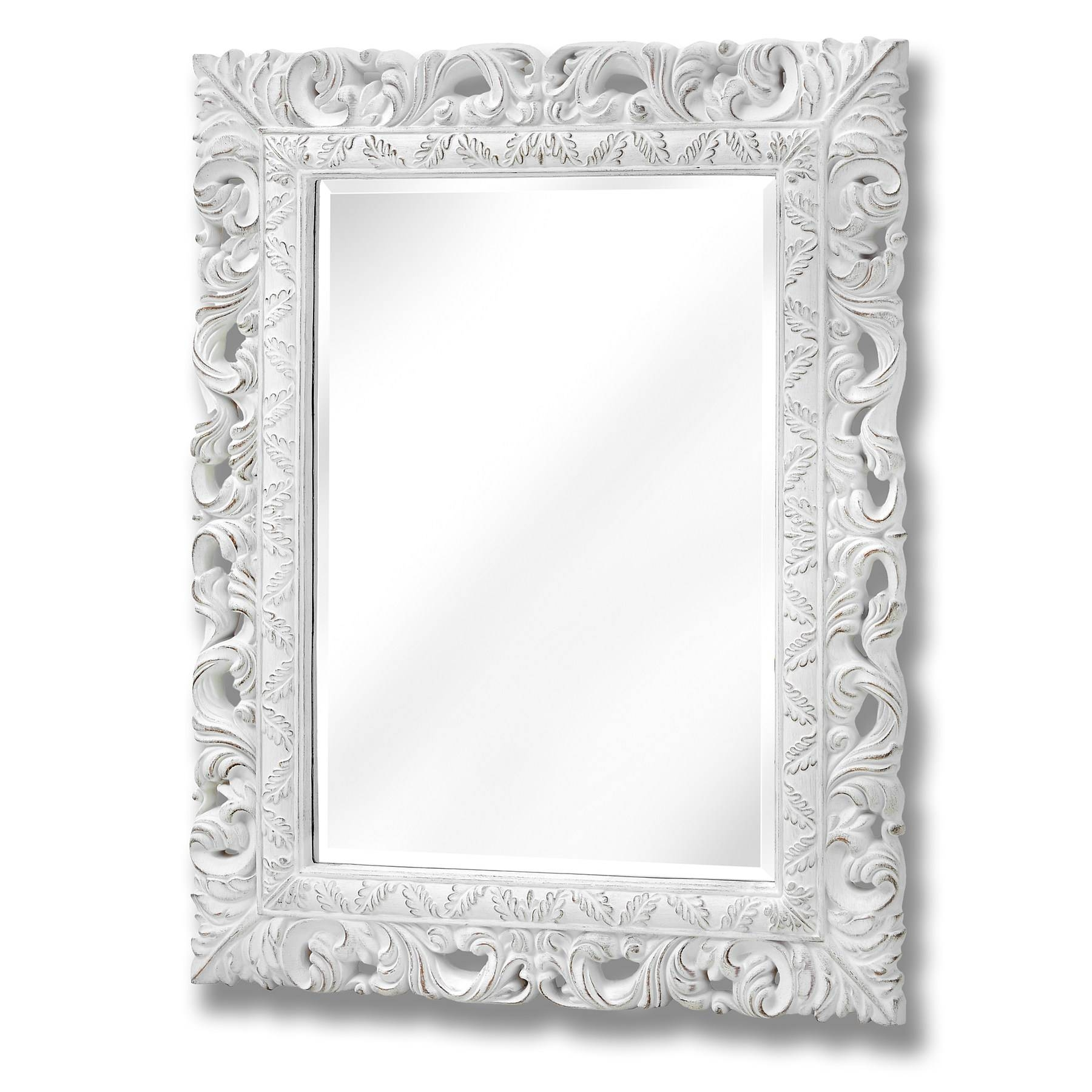 Antique White Ornate Leaf Wall Mirror | From Baytree Interiors for Ornate Black Mirrors (Image 2 of 15)