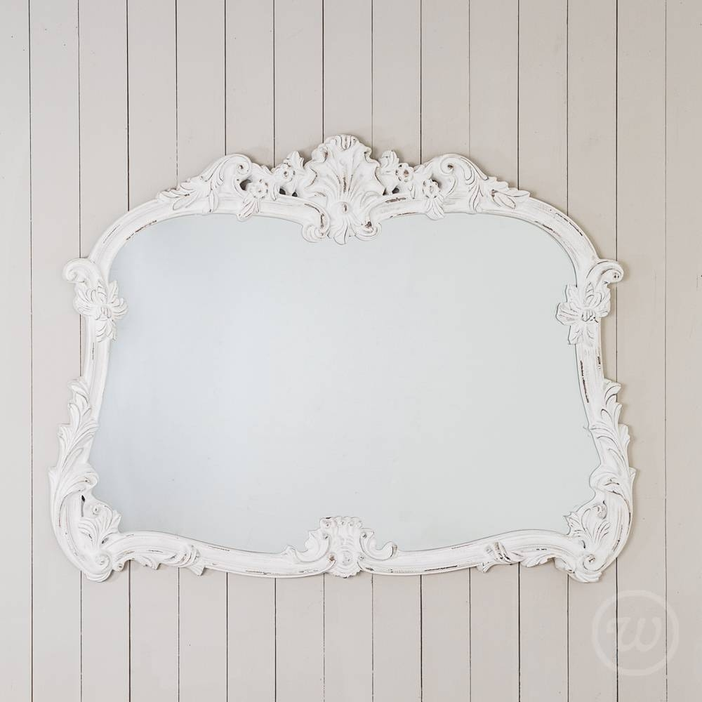 Antique White Ornate Overmantle Mirror With White Overmantle Mirrors (View 6 of 15)
