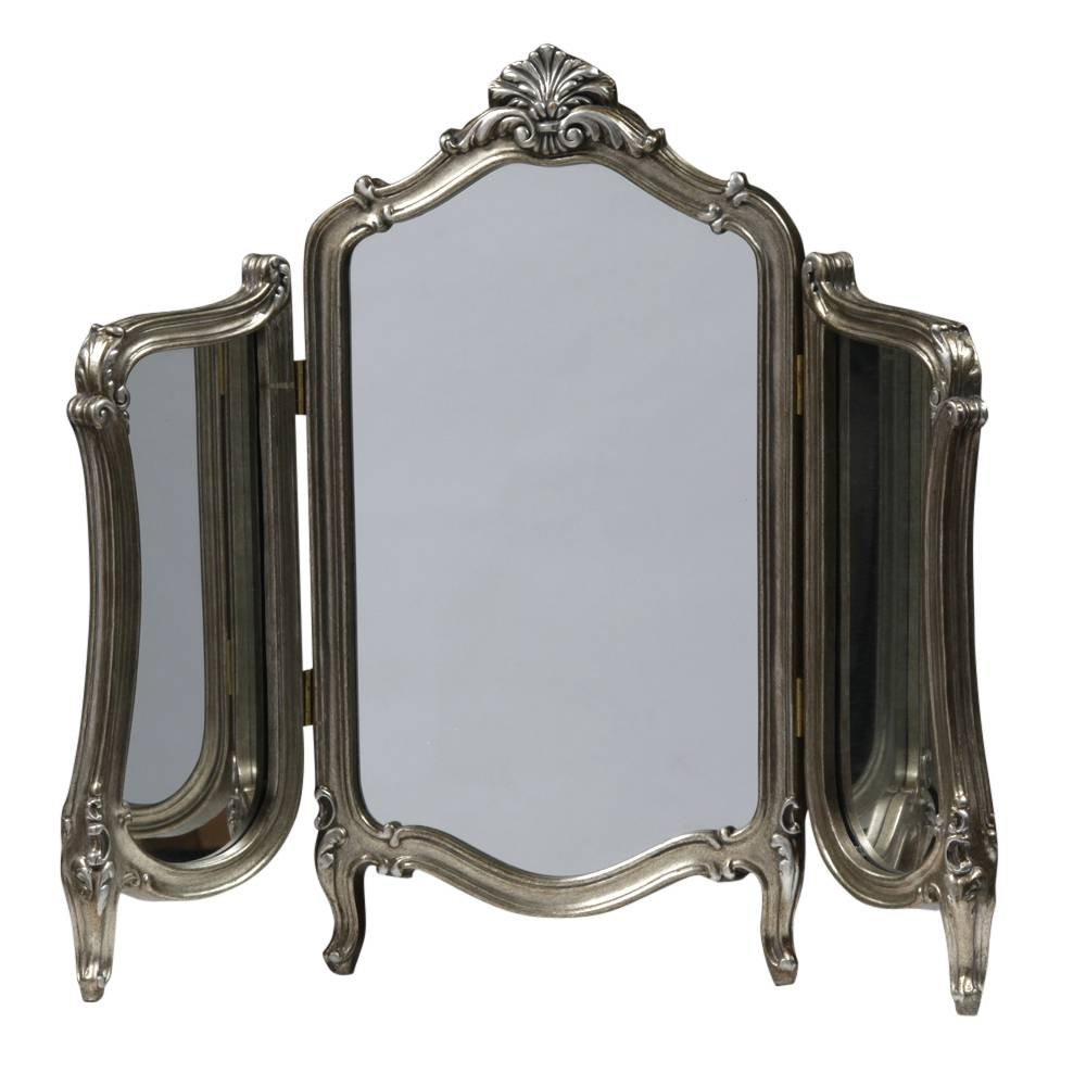 Antiqued Silver French Triple Dressing Table Mirror [Ee2383 within Ornate Dressing Table Mirrors (Image 1 of 15)