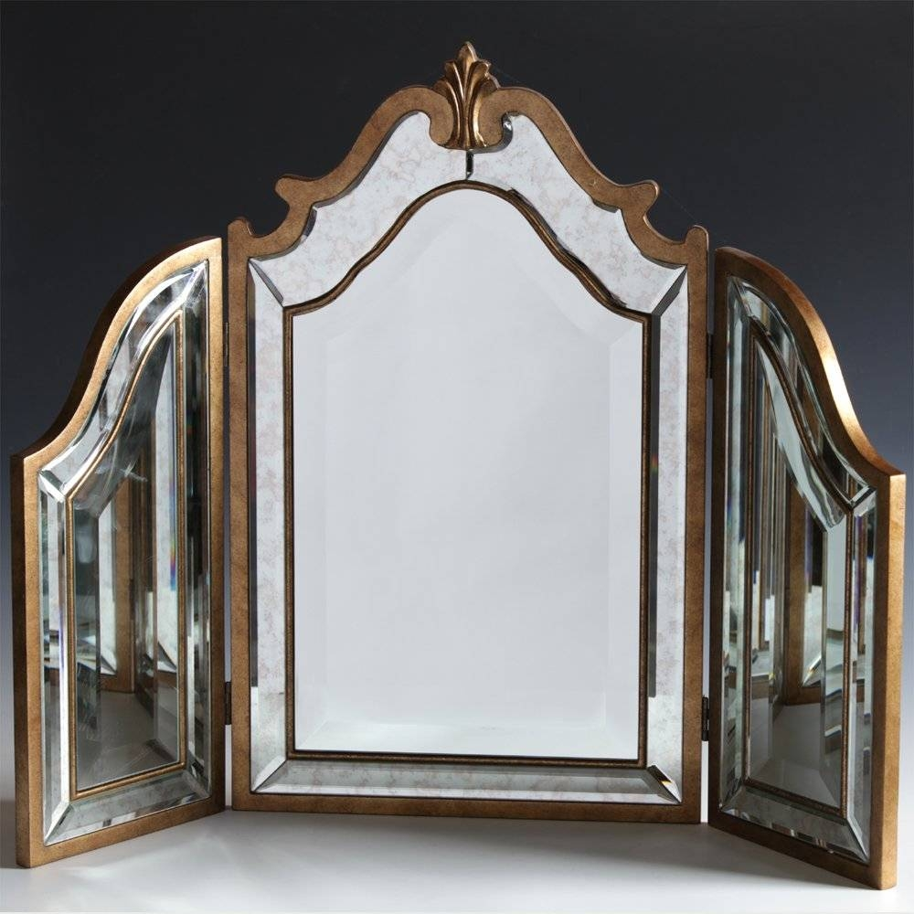 Antiqued Venetian 3 Fold Dressing Table Mirror with Venetian Dressing Table Mirrors (Image 2 of 15)