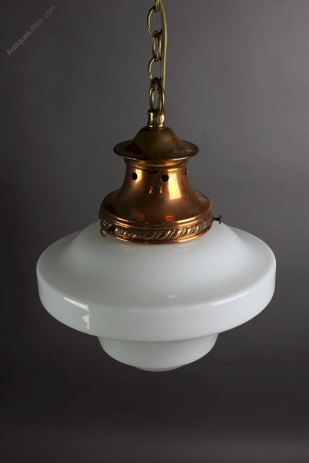 Antiques Atlas - Edwardian Pendant Light With Milk Shade for Edwardian Lamp Pendant Lights (Image 4 of 15)