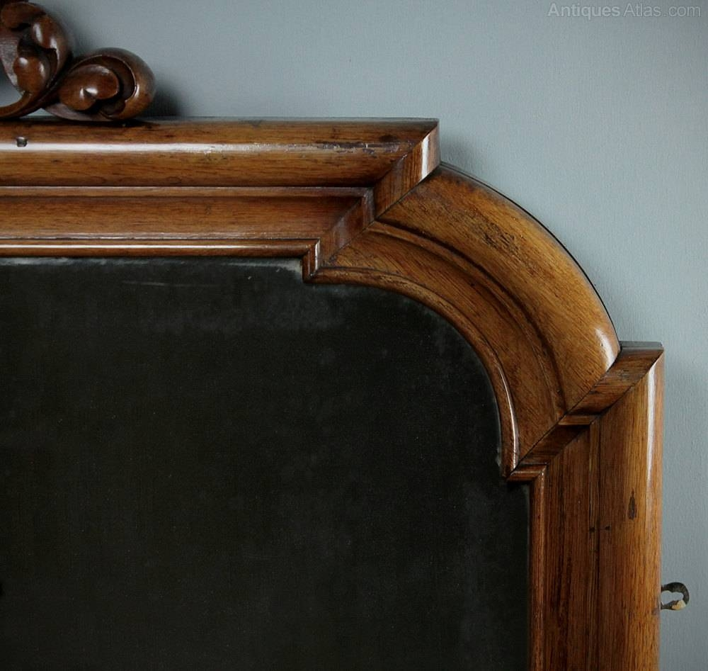 Antiques Atlas - Large Oak Overmantle Mirror C.1860. with regard to Wooden Overmantle Mirrors (Image 7 of 15)