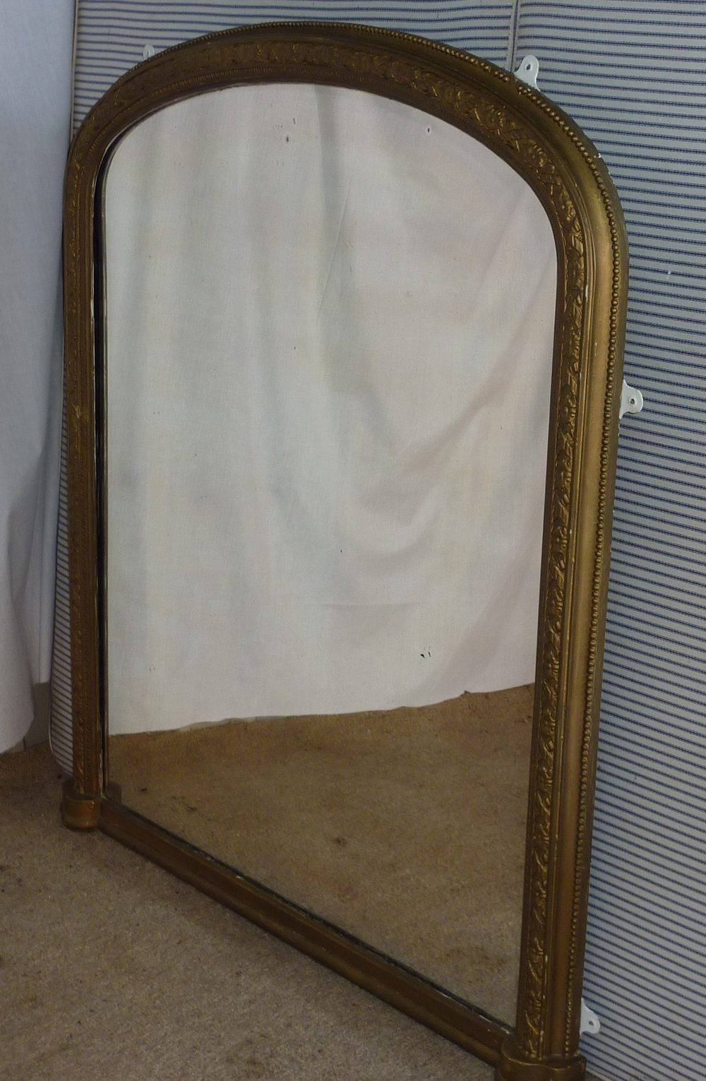 Antiques Atlas - Large Victorian Gold Arched Over Mantle Mirror intended for Wooden Overmantle Mirrors (Image 8 of 15)