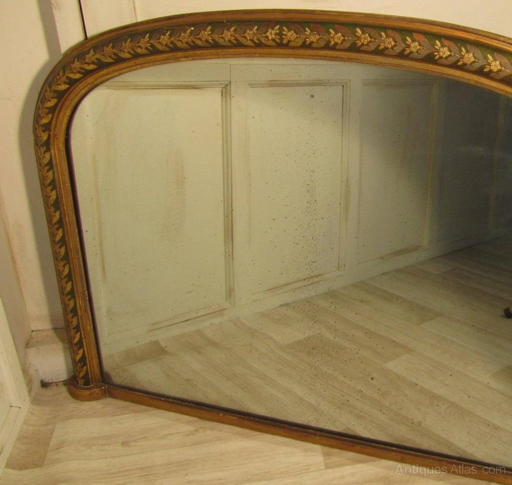 Antiques Atlas - Victorian Painted And Gold Over Mantle Mirror pertaining to Gold Mantle Mirrors (Image 4 of 15)