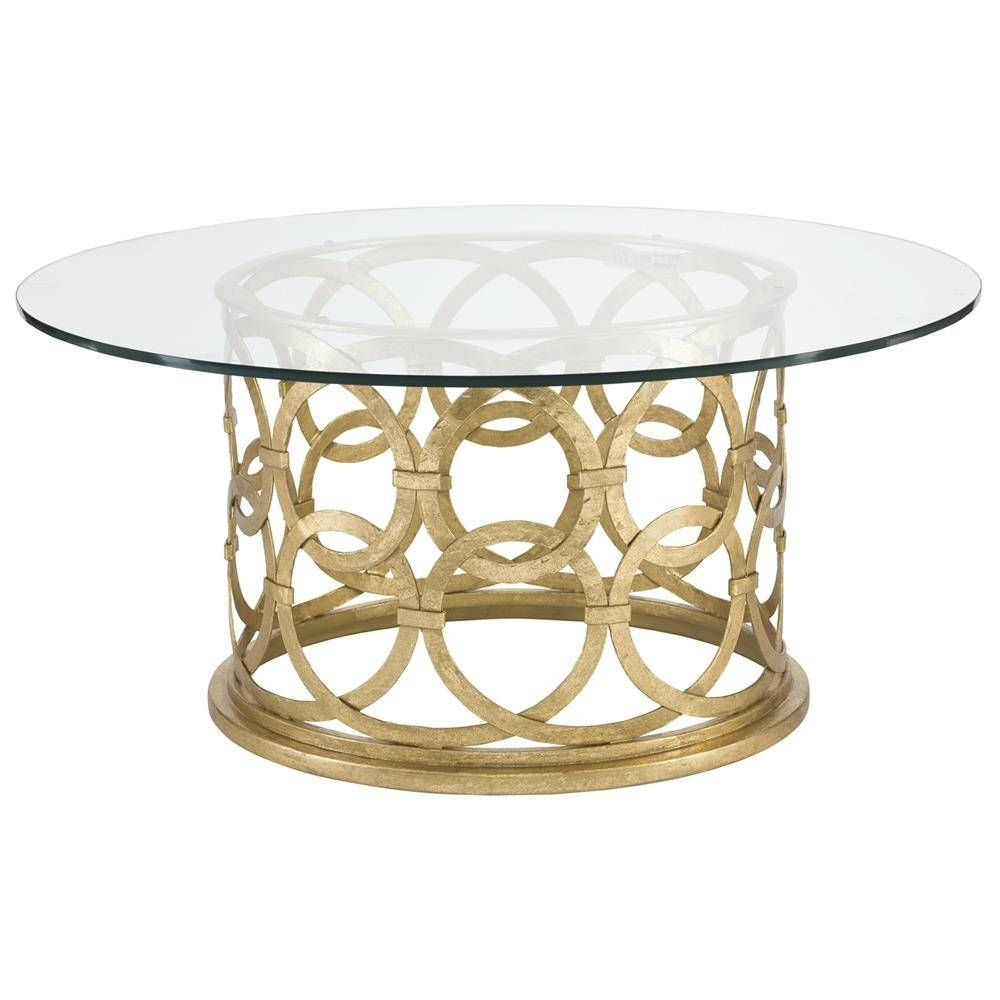 Antonia Hollywood Regency Round Gold Metal Coffee Table | Kathy with Round Metal Coffee Tables (Image 1 of 15)