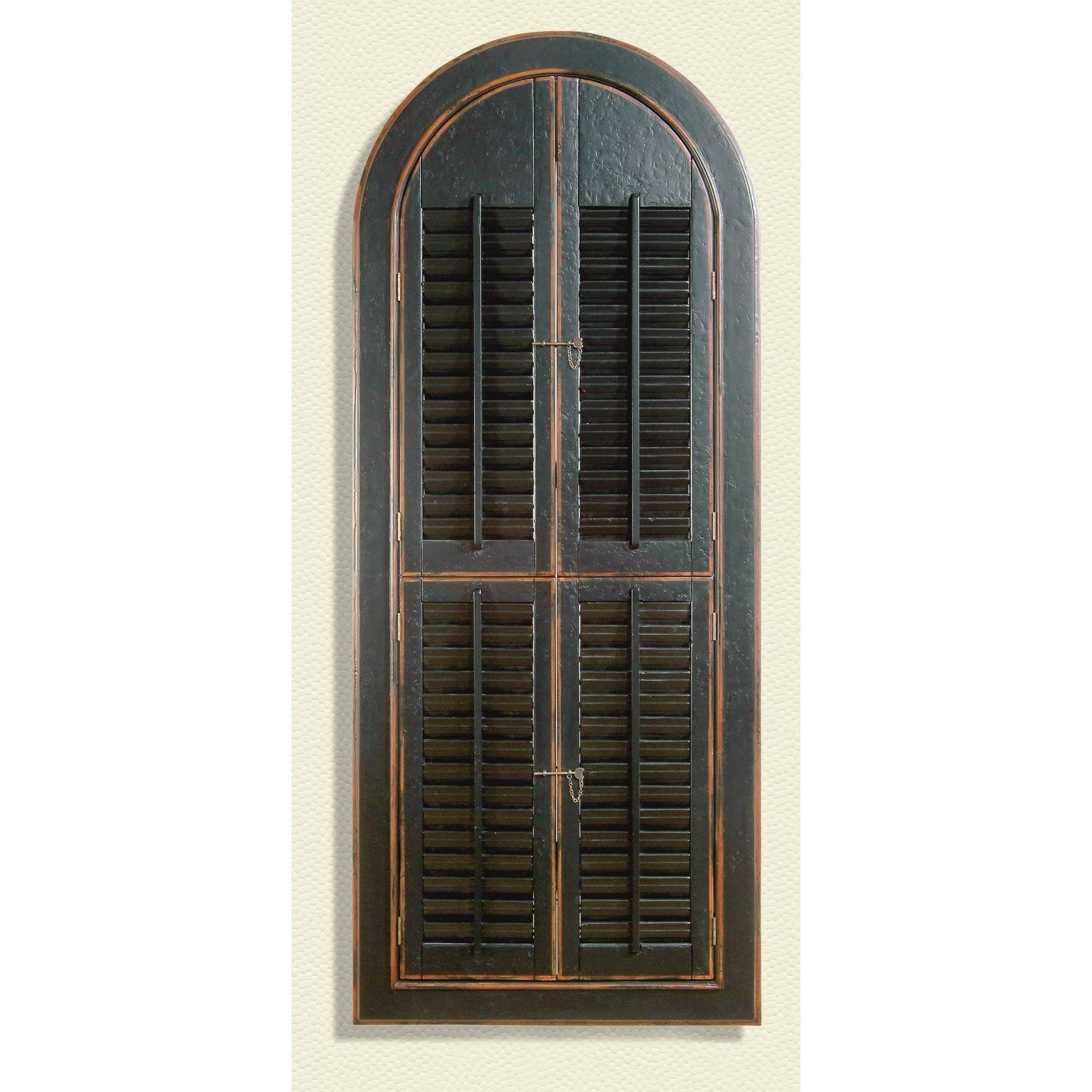Arched Mirror With Shutters – Harpsounds.co for Antique Black Mirrors (Image 3 of 15)