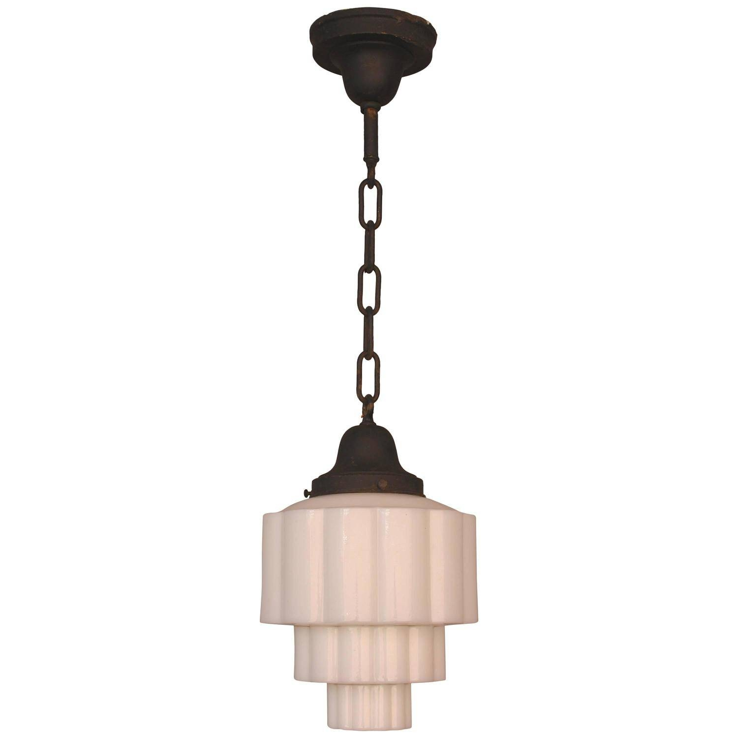 Art Deco Skyscraper Milk Glass Pendant Light, 1930S At 1Stdibs within Milk Glass Lights Fixtures (Image 2 of 15)