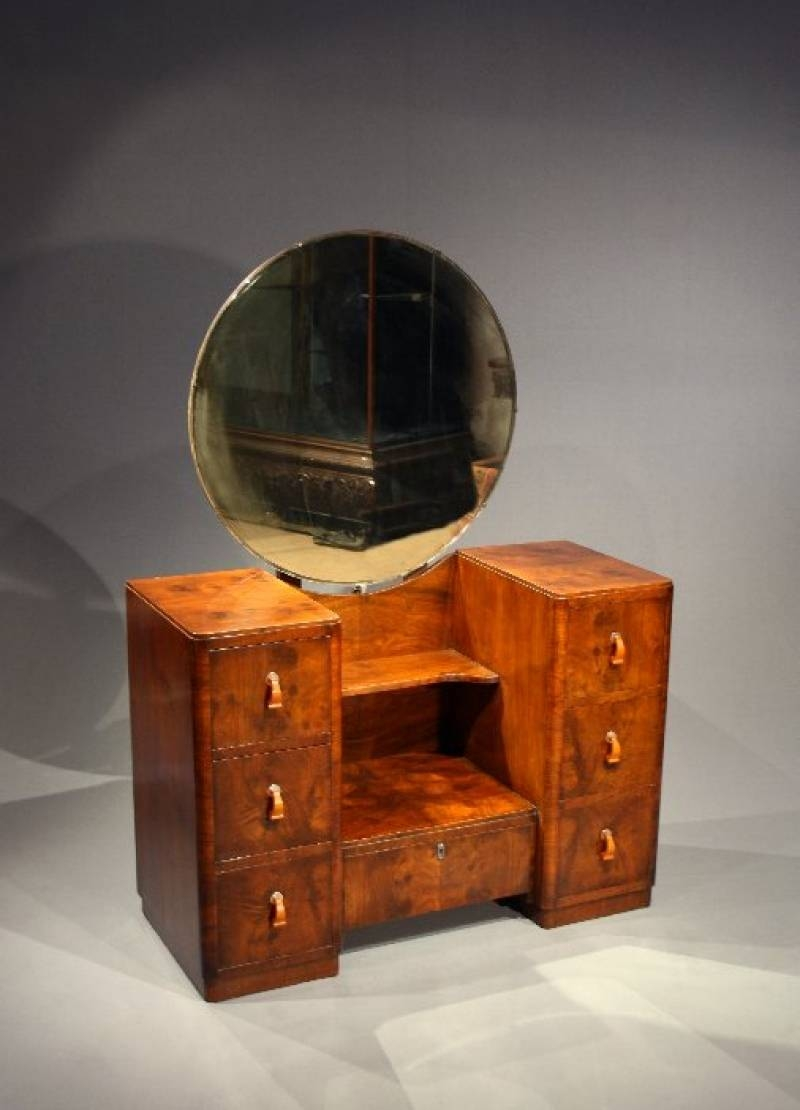 Art Deco Walnut Dressing Table With Mirror - Loveday Antiques intended for Art Deco Dressing Table Mirrors (Image 14 of 15)