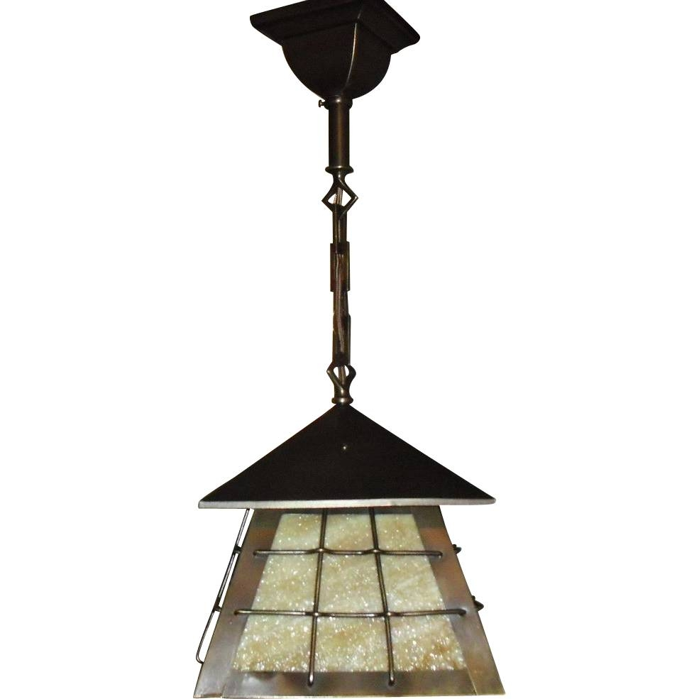Arts And Crafts Brass W Slag Glass Pendant Light Fixture From throughout Arts and Crafts Pendant Lighting (Image 4 of 15)