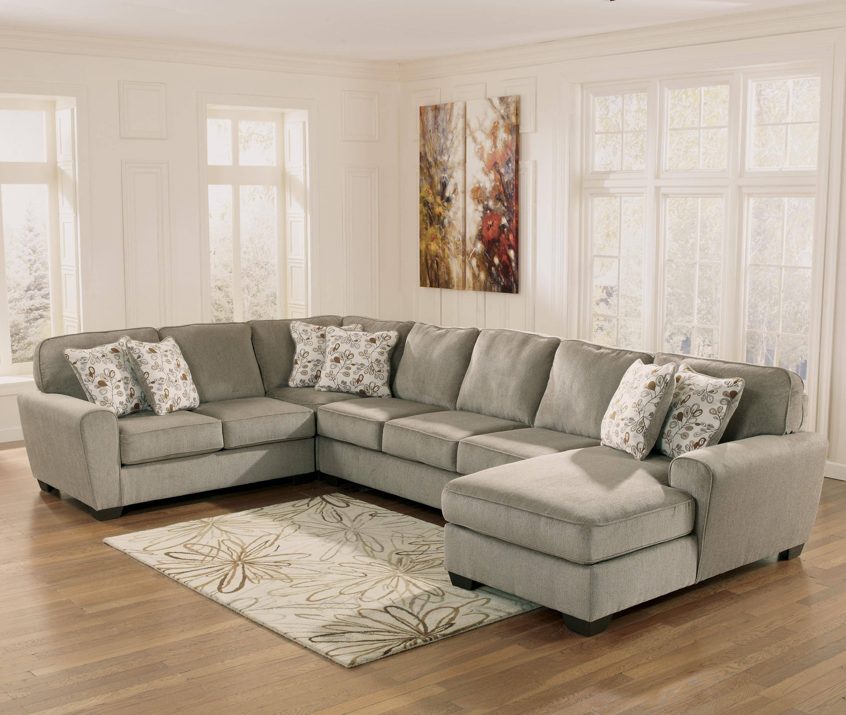 Ashley Furniture Patola Park - Patina 4-Piece Sectional With Right inside Ashley Furniture Brown Corduroy Sectional Sofas (Image 3 of 15)
