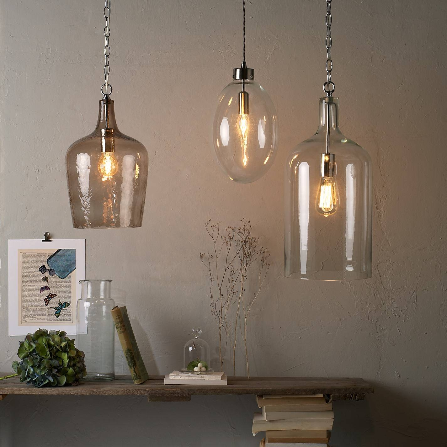 Assorted Colour Industrial Wine Glass Bottle Pendant Lamp Come with regard to Wine Jug Pendant Lights (Image 2 of 15)