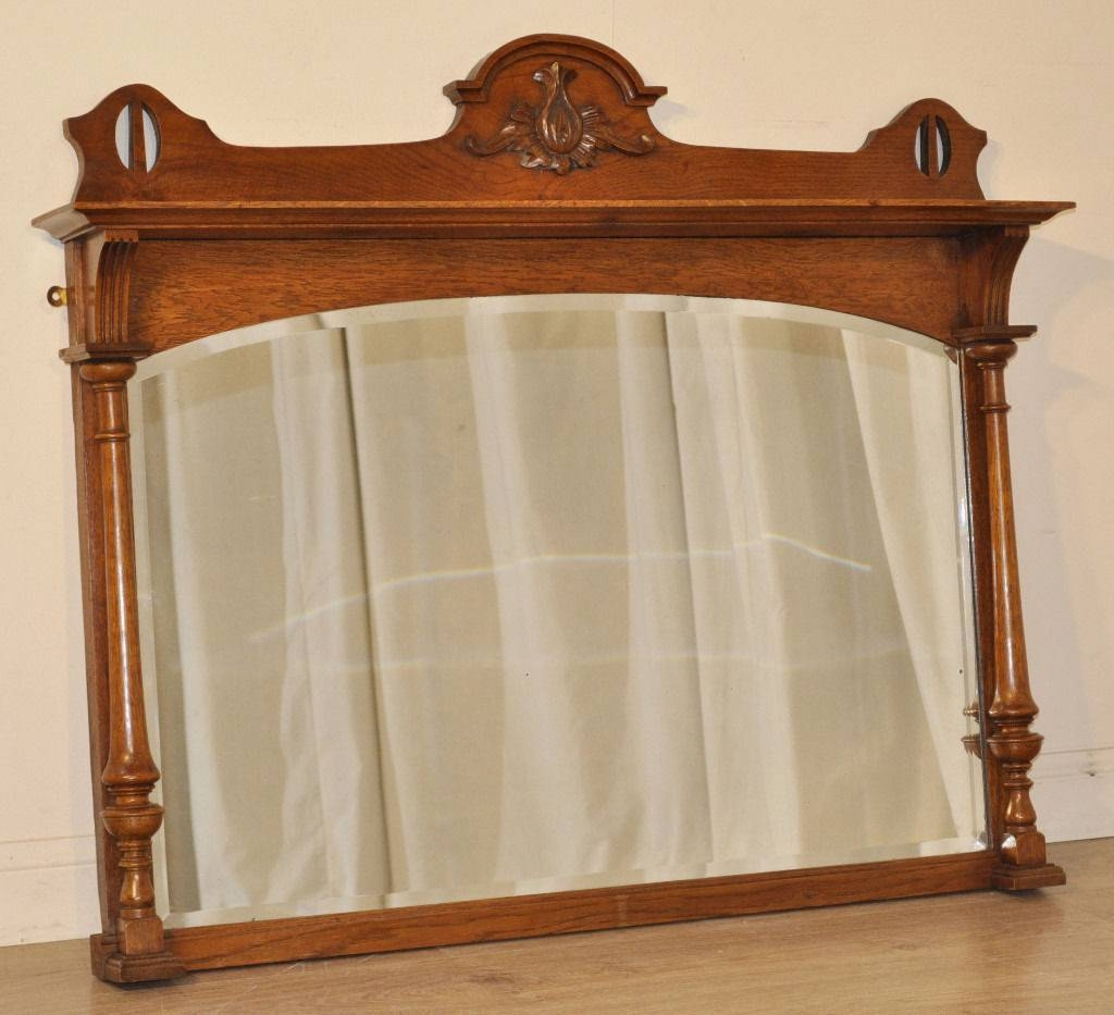 Attractive Antique Victorian Carved Oak Overmantle Bevelled Arch with regard to Wooden Overmantle Mirrors (Image 9 of 15)