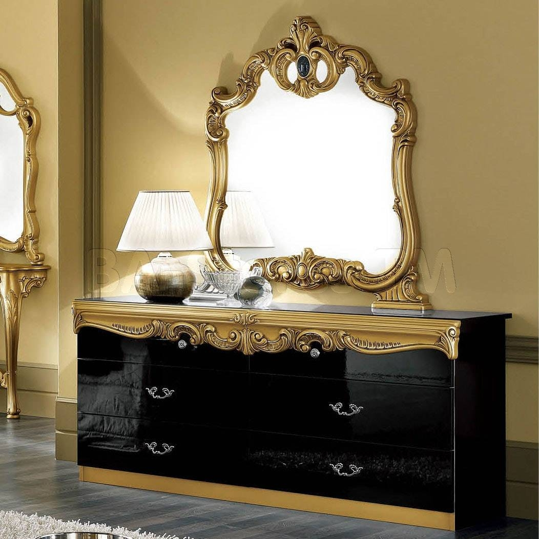 Aubrey Hollywood Regency Silver Leaf Mirror Chest Dresser Gold With Gold Dressing Table Mirrors (View 3 of 15)