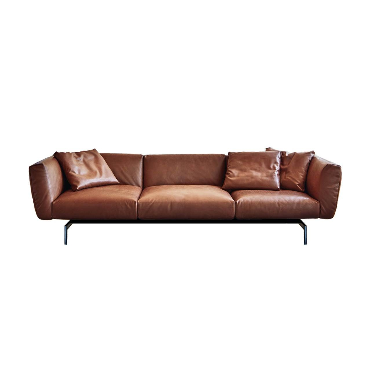Avio Three Seater Amber Leather Sofa Inside Knoll Sofas (View 15 of 15)
