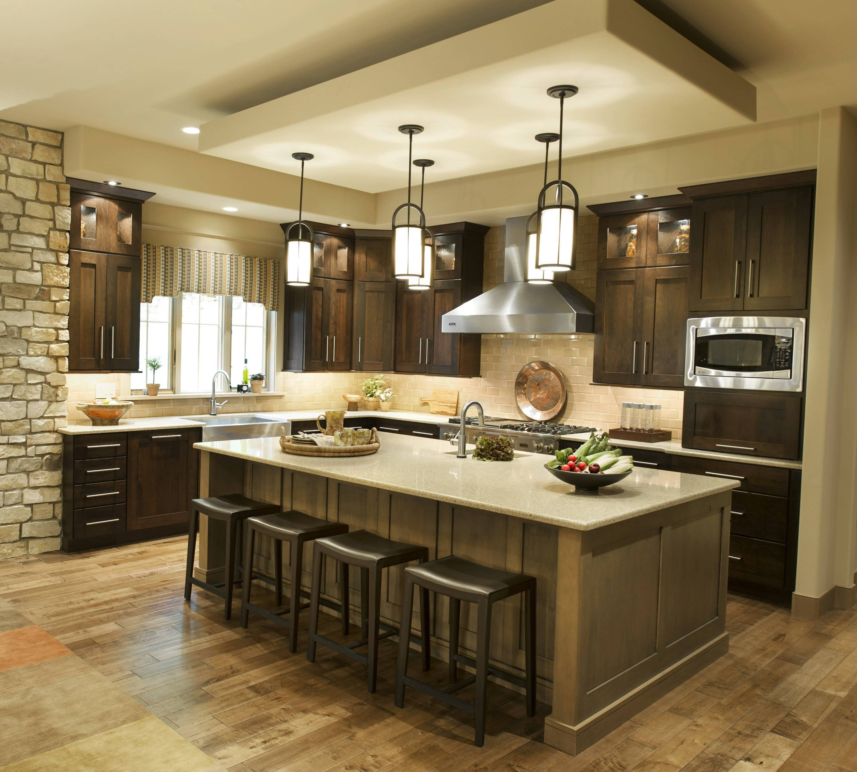 Awesome Pendant Lighting Over Kitchen Island Also Mini Lights For with regard to Double Pendant Lights for Kitchen (Image 3 of 15)