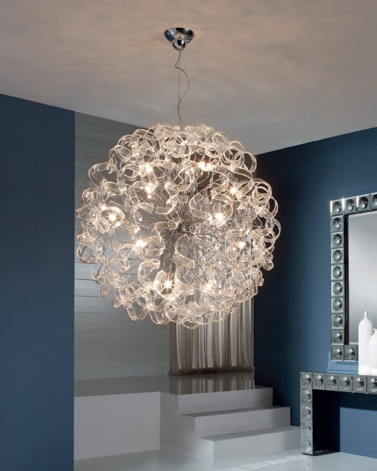 Ball Pendant Light With Curly Ribbons Of Glass - Medium Or Large intended  for Large Glass