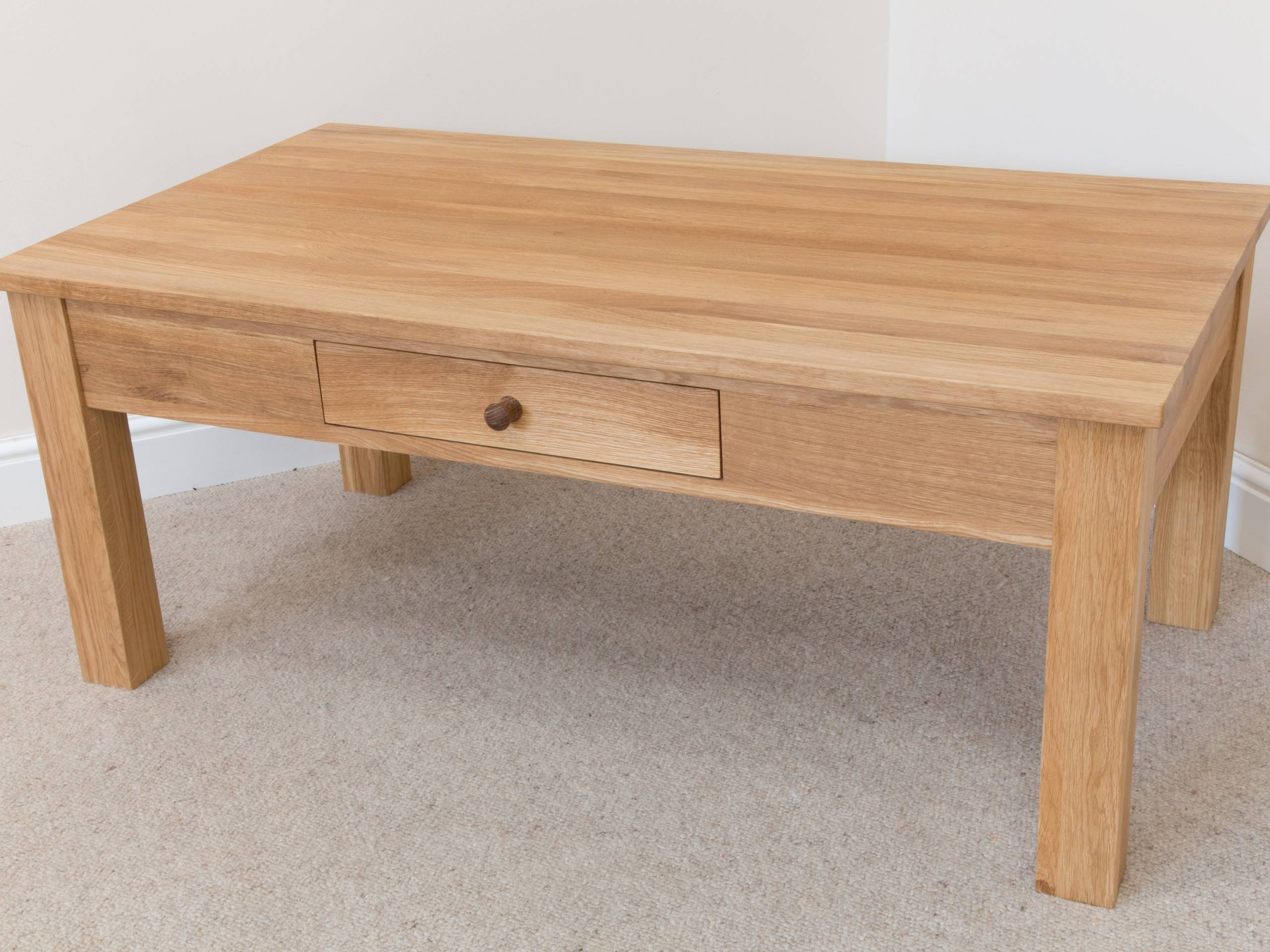 Baltic Large Solid Oak Coffee Table With Drawer intended for Large Oak Coffee Tables (Image 1 of 15)
