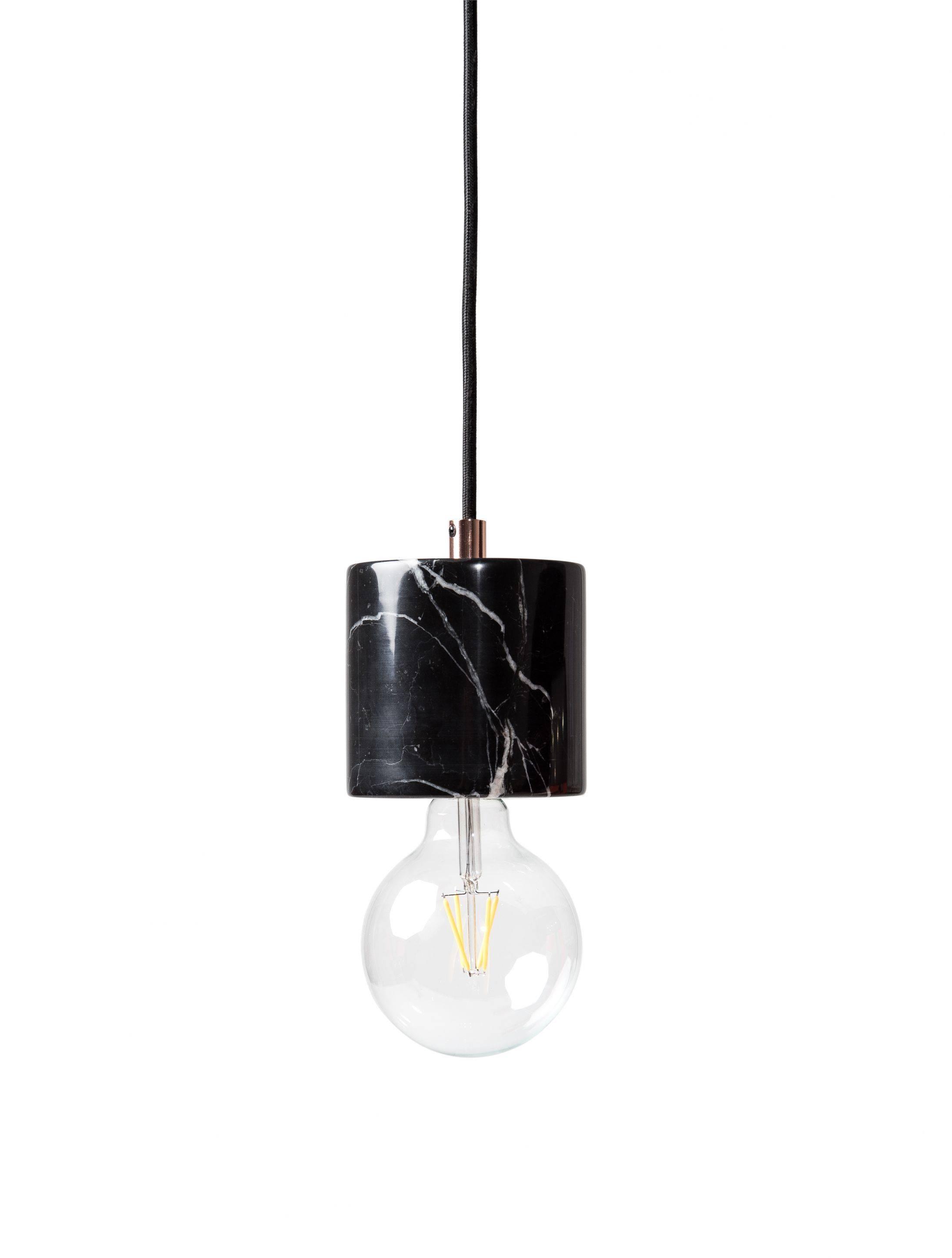 Bare Bulb Marble Pendant - Black | Mid Century Modern inside Bare Bulb Pendants (Image 2 of 15)