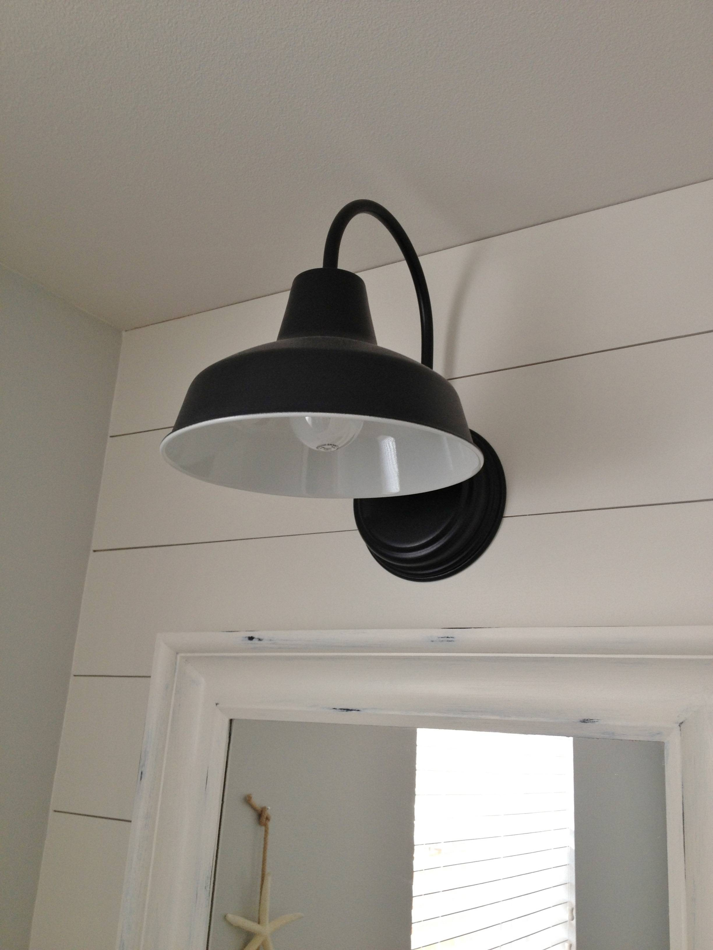 Barn Wall Sconce Lends Farmhouse Look To Powder Room Remake | Blog With Galvanized Pendant Barn Lights (View 11 of 15)