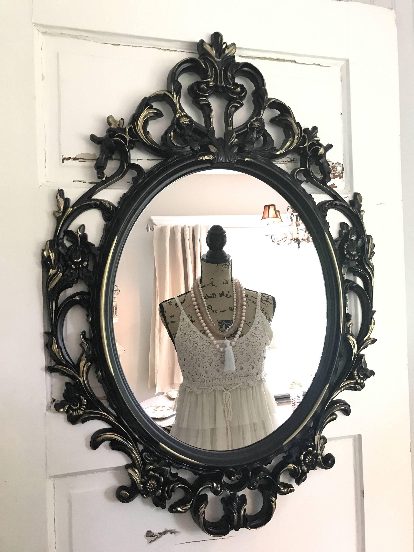 Baroque Mirror Bathroom Vanity Mirror Black And Gold Mirror within Baroque Wall Mirrors (Image 2 of 15)