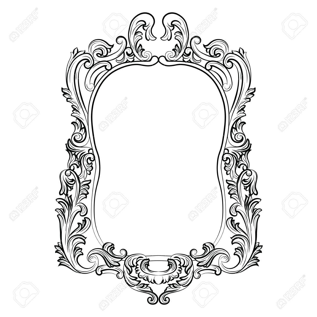 Baroque Rococo Mirror Frame Decor. Vector Luxury Rich Carved with Black Victorian Style Mirrors (Image 2 of 15)