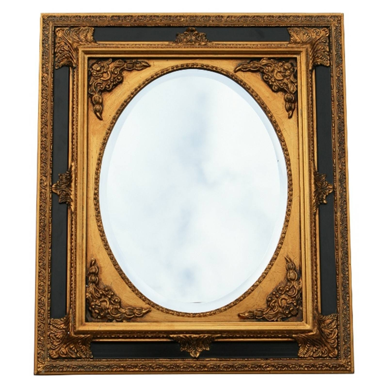 Baroque Wall Mirror Oval Ornate Frame 50X60/ 20X24 Inches Antique inside Black And Gold Wall Mirrors (Image 2 of 15)