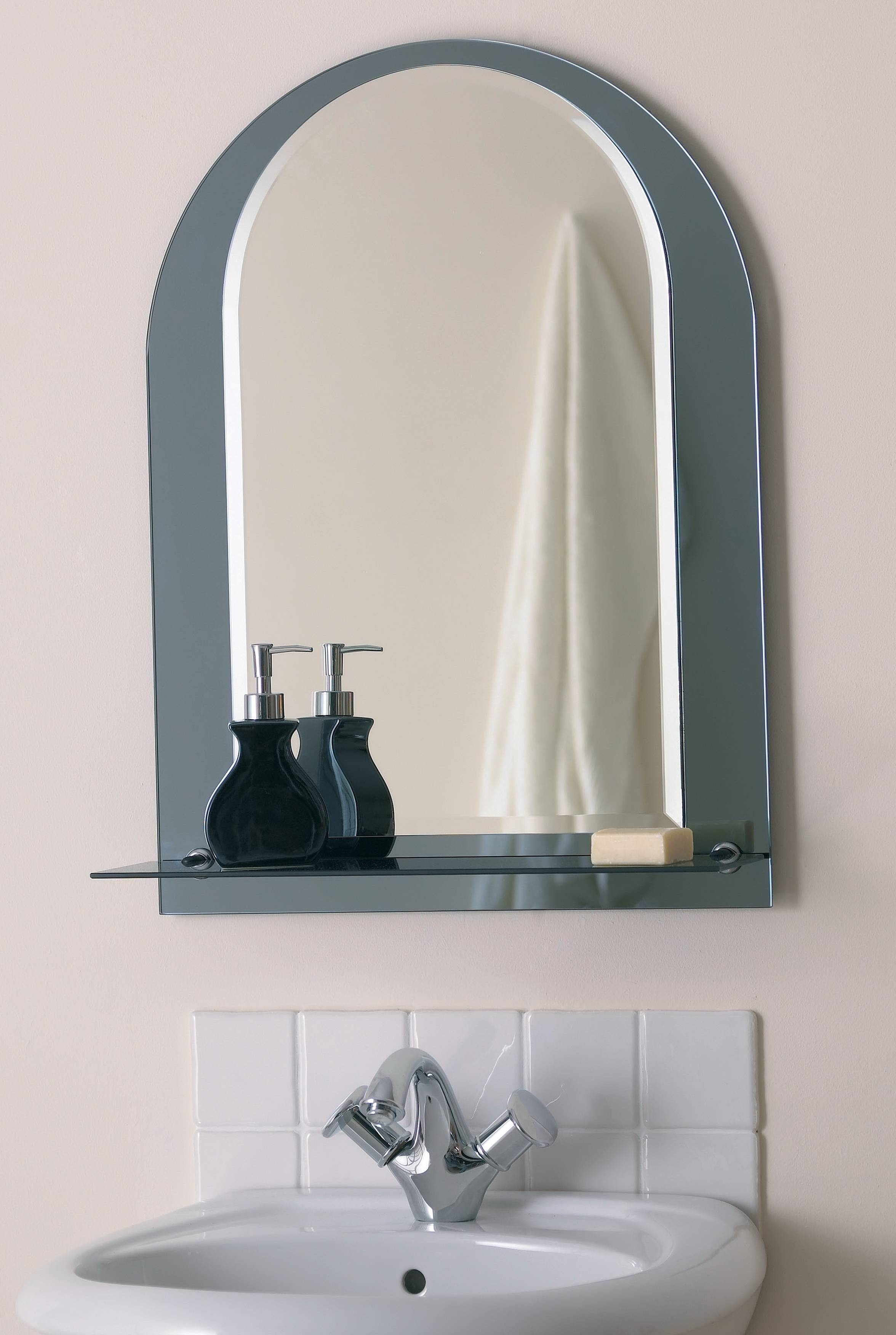 Bathroom: Arched Lowes Bathroom Mirror With Shelf Attached For With Arched Bathroom  Mirrors (Image