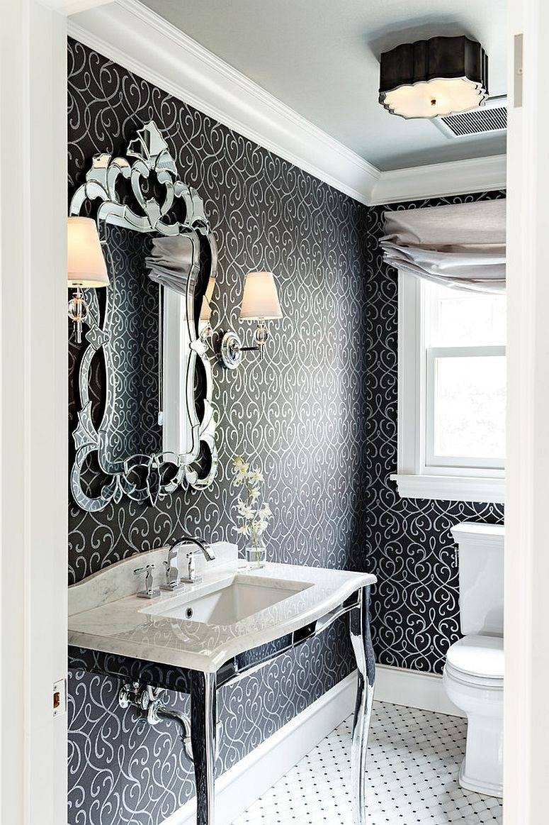 Bathroom : Black And White Bathroom With Unique Wall Mirror Also pertaining to Black Victorian Style Mirrors (Image 3 of 15)