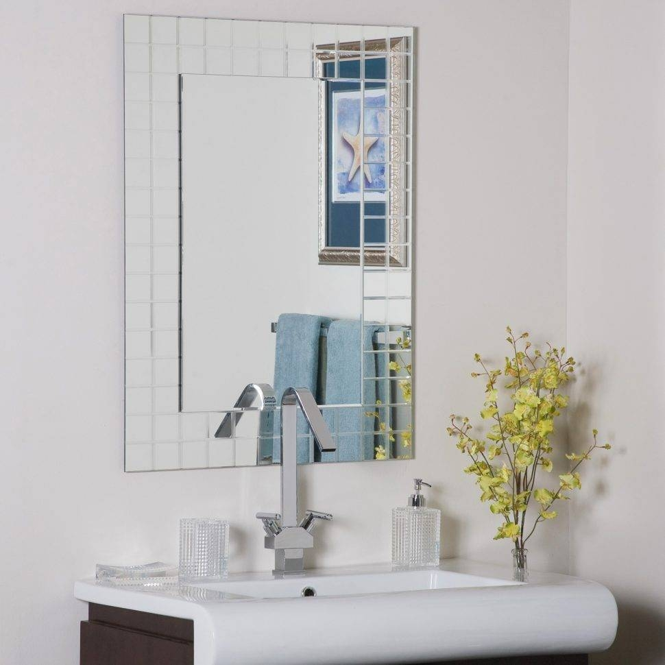 Bathroom Cabinets : Frameless Mirror Big Mirrors Bathroom Mirrors Intended For Large Bevelled Edge Mirrors (View 5 of 15)
