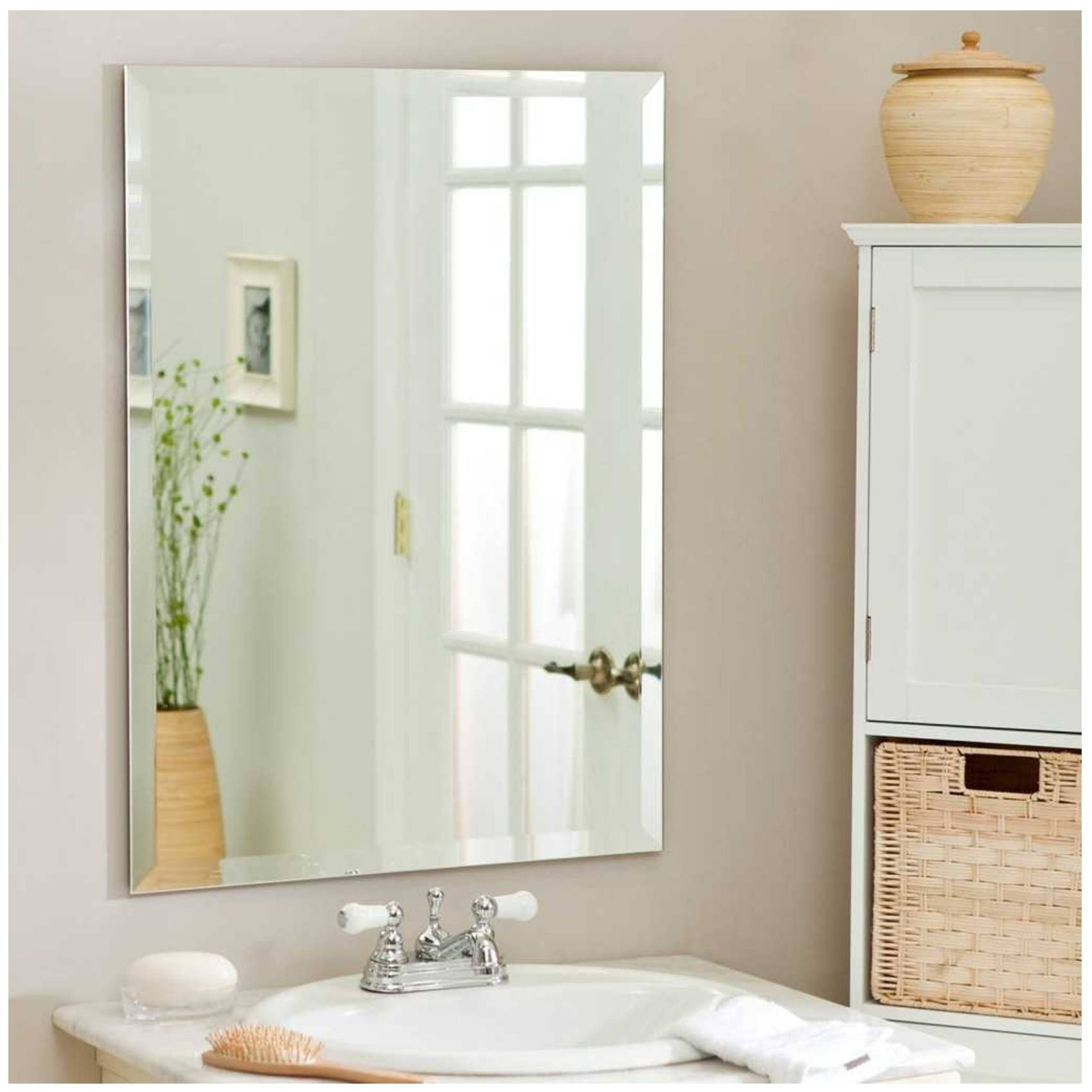 Bathroom Cabinets : Large Decorative Bathroom Wall Mirrors pertaining to Wall Mirrors Without Frame (Image 3 of 15)