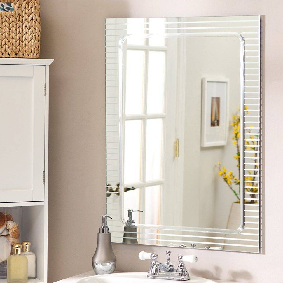 Bathroom Cabinets : Wall Mounted Mirror Unframed Mirrors throughout Unframed Wall Mirrors (Image 3 of 15)