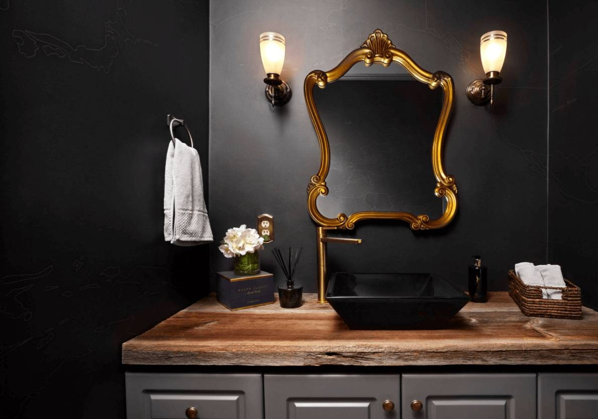 Bathroom : Dark Bathroom With Black Wall Also Black Sink, Gold inside Black And Gold Wall Mirrors (Image 3 of 15)