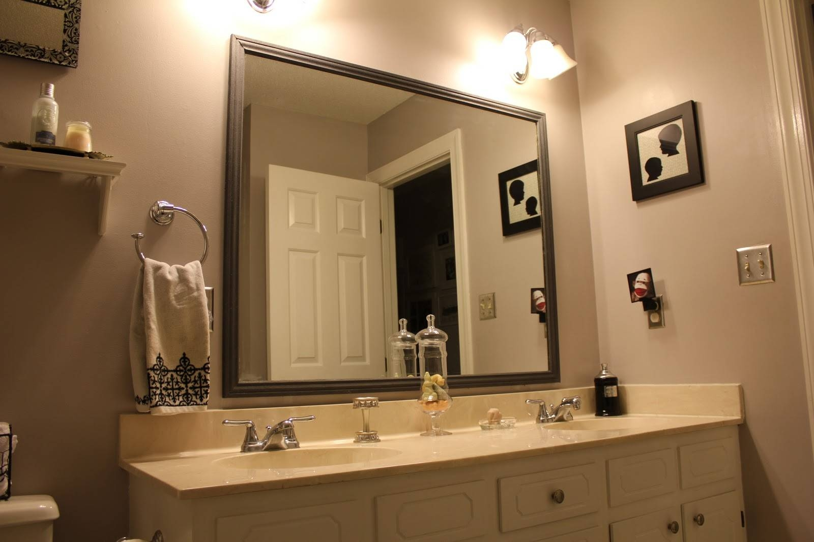 Bathroom: Elegant Bathroom Decor With Large Framed Bathroom throughout Large Brown Mirrors (Image 3 of 15)