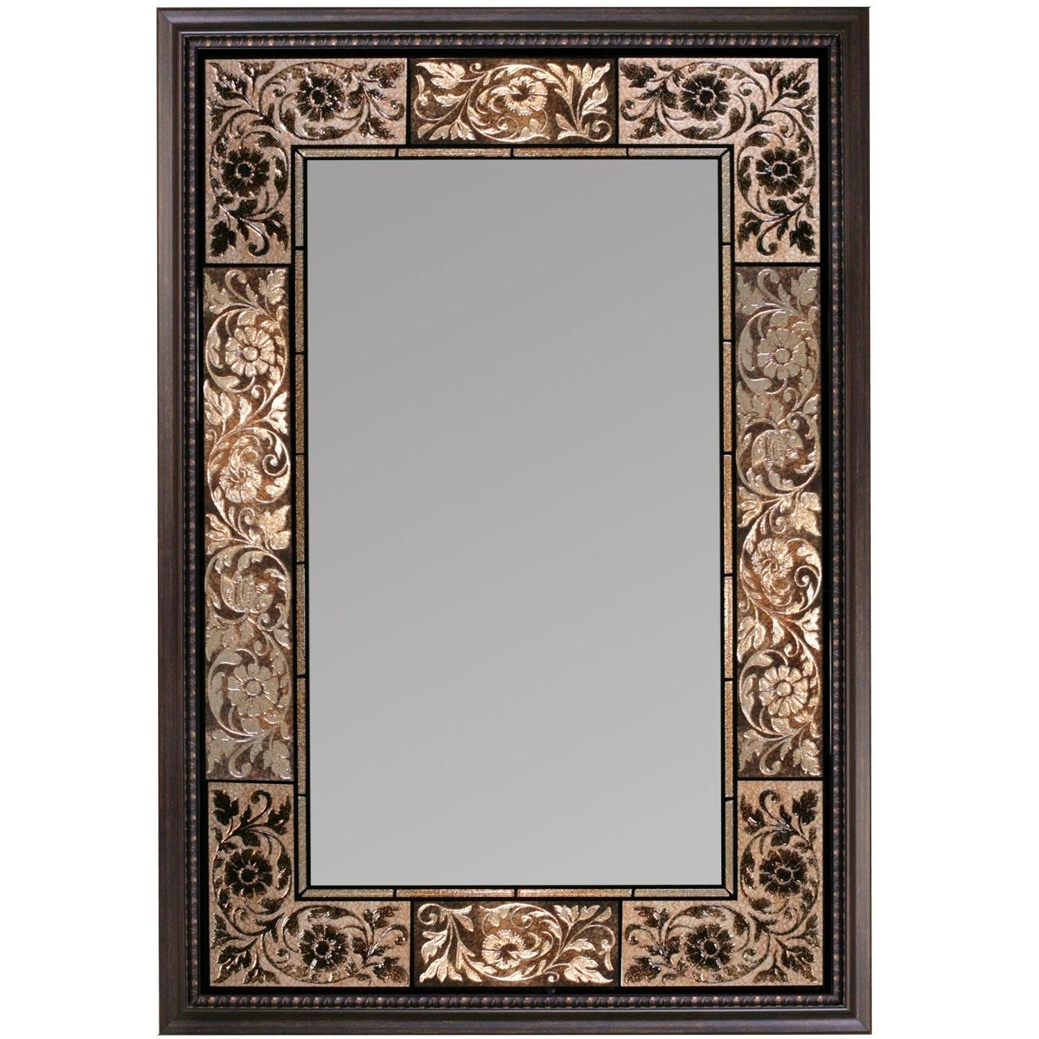 Bathroom Ideas. Luxury Bronze Floral Decorative Tiled Framed in Large Bronze Mirrors (Image 3 of 15)